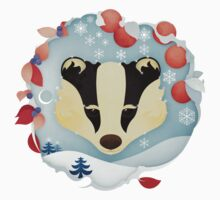 Snowy Badger Kids Tee