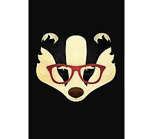 Hipster Badger Photographic Print
