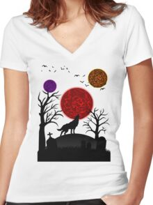 Halloween Wolf Triple Moon Women's Fitted V-Neck T-Shirt