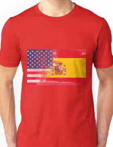 Spanish American Half Spain Half America Flag Unisex T-Shirt