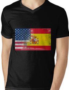 Spanish American Half Spain Half America Flag Mens V-Neck T-Shirt