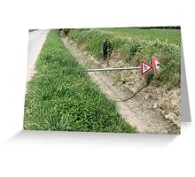 road sign shot down in the countryside Greeting Card