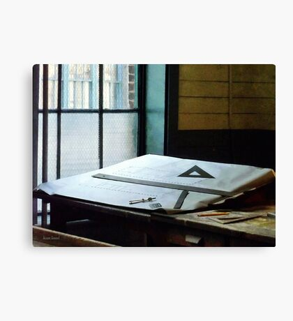 Triangle Ruler And Compass Canvas Print