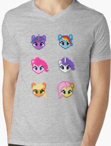 My Little Pony 8 Bit Characters Mens V-Neck T-Shirt