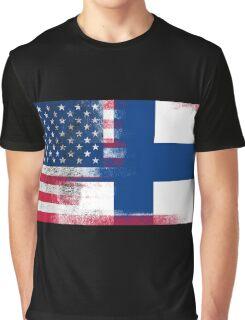 Finnish American Half Finland Half America Flag Graphic T-Shirt