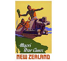 New Zealand Vintage Travel Poster Restored Photographic Print