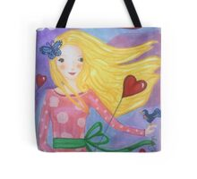 Lovely girl with balloons Tote Bag