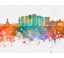 Rio de Janeiro V2 skyline in watercolor background Photographic Print