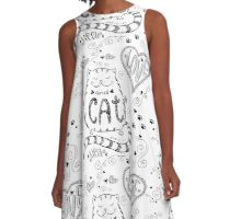 Cute cat  pattern, funny hand drawn  A-Line Dress