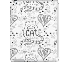 Cute cat  pattern, funny hand drawn  iPad Case/Skin