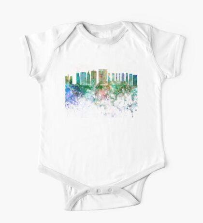 Sao Paulo V2 skyline in watercolor background One Piece - Short Sleeve