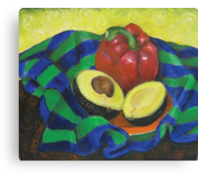 Avocado and Pepper Canvas Print