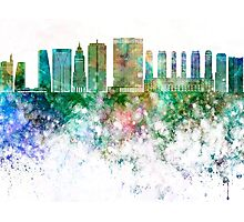 Sao Paulo V2 skyline in watercolor background Photographic Print