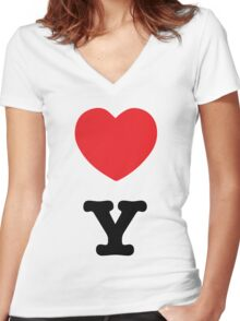 I LOVE NY COUPLE b Women's Fitted V-Neck T-Shirt
