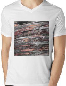 Modern rose gold abstract marbleized paint Mens V-Neck T-Shirt