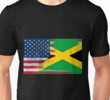 Jamaican American Half Jamaica Half America Flag Unisex T-Shirt