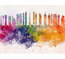 Dubai V2 skyline in watercolor background Photographic Print