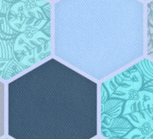 Denim Blue, Aqua & Indigo Hexagon Doodle Pattern Sticker