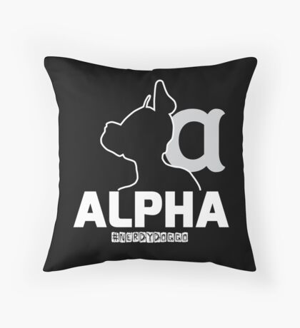 Nerdy Doggo Alpha Throw Pillow