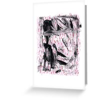 abstract in black, pink and red Greeting Card