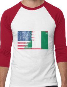Nigerian American Half Nigeria Half America Flag Men's Baseball ¾ T-Shirt