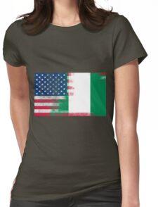 Nigerian American Half Nigeria Half America Flag Womens Fitted T-Shirt