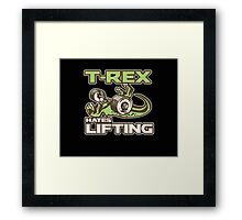 T-Rex Hates Lifting Weights Gym Exercise Trex Funny Framed Print