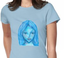 Portrait in blue Womens Fitted T-Shirt