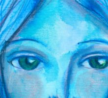Portrait in blue Sticker