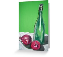 Wine bottle and red onions Greeting Card