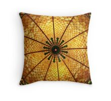 Golden Stained Glass Scales Throw Pillow