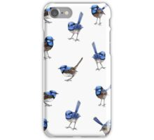 Blue Wrens, Scattered on White iPhone Case/Skin