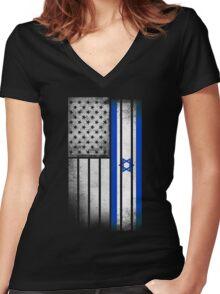 Israeli American Flag Women's Fitted V-Neck T-Shirt