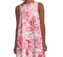 pattern with watercolor pink flowers A-Line Dress