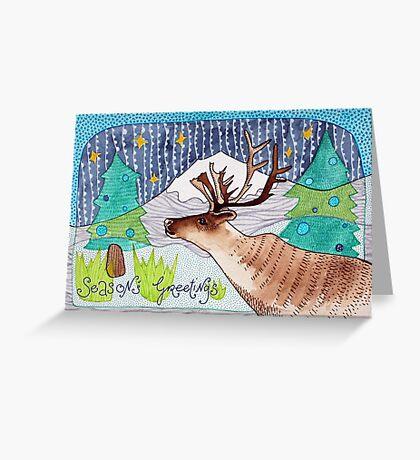 Rentier Weihnachtskarte - Aquarelle Greeting Card