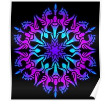 Mandala with winged horses Poster