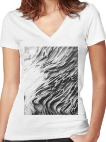 Waves of Grain in Grey  Women's Fitted V-Neck T-Shirt