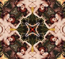 Floral abstract rennaisance pattern with angels kissing2 by mikath