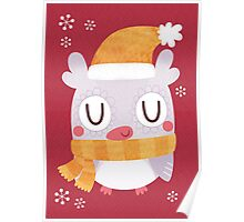 Snuggly Winter Owl Poster