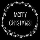 Merry Christmas wreath in metallic silver foil effect transparent background  by Sandra O'Connor
