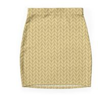 Yellow hand drawn knitting braids pattern Mini Skirt