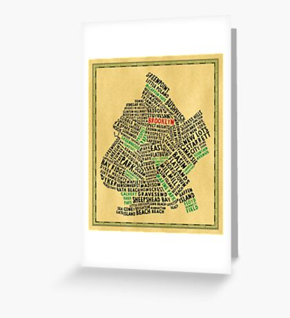 Brooklyn New York Typography Map Greeting Card