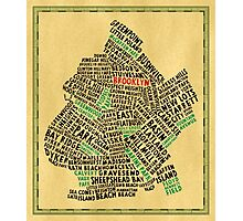 Brooklyn New York Typography Map Photographic Print