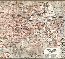 Vintage Map of Stuttgart Germany (1909) by BravuraMedia