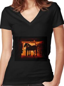 Grooming The Mighty Percheron Women's Fitted V-Neck T-Shirt