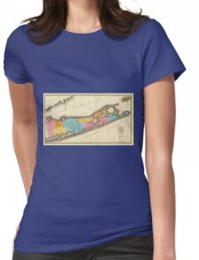 Vintage Map of Suffolk New York (1829) Womens Fitted T-Shirt