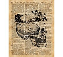 Skull in Floral Wreath Ink Drawing Dictionary Art Photographic Print
