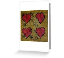 Four red hearts Greeting Card