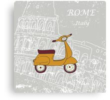 Cute illustration of a vespa scooter Canvas Print