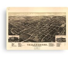 Vintage Pictorial Map of Tallahassee FL (1885) Canvas Print